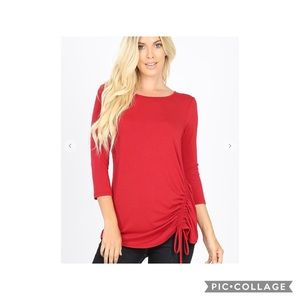 3/4 sleeve round neck side ruched top